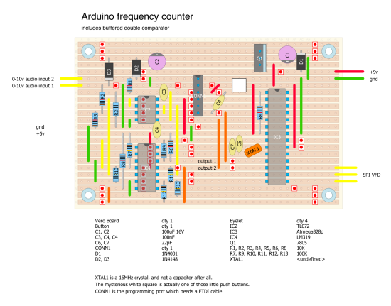 Arduino frequency counter stripboard layout