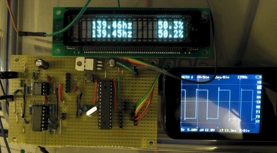 Frequency counter board and display