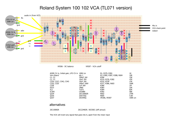 Roland System 100 VCA stripboard layout