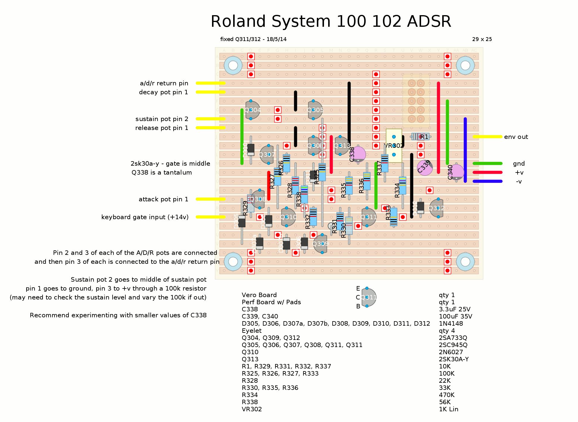roland system 100 adsr envelope stripboard layout