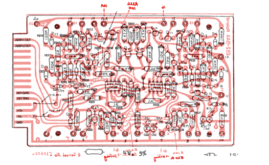 Roland System 700 705 parts overlaid on traces
